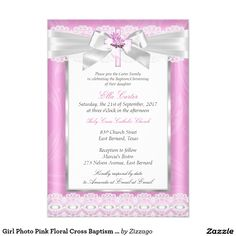 Girl Photo Pink Floral Cross Baptism Christening Card Add your Photo Baby Girl Baptism Invitation. White lace and Floral pink cross. Customize with your own details. Please note all flat images! they do not have real lace or jewels! Holy Communion Invitations, Christening Invitations, Christening Card, Invitation Paper, Custom Invitations, Party Invitations, Baby Girl Baptism, First Holy Communion, Party Stores