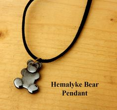 Bear Pendant. Black hemalyke bear on black leather. Gift for him or her. Birthday gift. Friendship gift. Girl friend gift. Handcrafted by BettyCampbell on Etsy