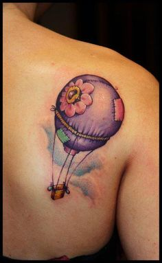 hot air flower balloon Tattoo by Dirty Rasel (Dirty roses tattoo studio), Thessaloniki, Greece.