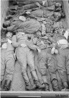 Fallen Finnish soldiers are transported back home where they will get a proper burial 1941-1944