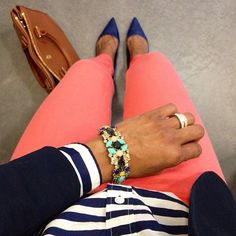 now i want to wear coral pants and a royal blue blazer?