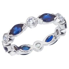 Marquise Sapphire And Round Diamond Alternating Platinum Wedding Ring (WR407-PC)