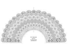Cómo hacer abanicos de encaje de bolillos - PLANTILLAS ABANICOS BOLILLOS GRATIS - El Cómo de las Cosas Bobbin Lace Patterns, Sewing Patterns, Bobbin Lacemaking, Crochet Collar, Lace Heart, Lace Jewelry, Lace Making, Diy Clothes, Lace Detail