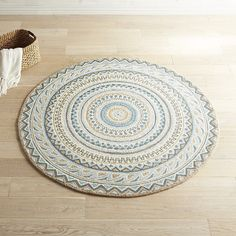 Fair Isle Blue 6' Round Wool Rug