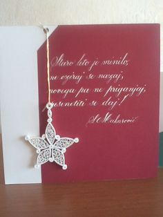 Christmas card with calligraphy and  quilling starr