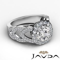 Halo Pre Set Round Diamond Engagement Heavy Ring GIA F VS1 18K White Gold 2 75ct | eBay