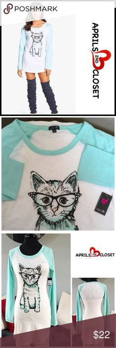 """Cozy Zoe SLEEP SHIRT TEE Cozy Zoe SLEEP SHIRT TEE  SIZING: XS = 0-2  COLOR: Ivory, TURQUOISE blue  * Super soft & comfy * Crew neck & long sleeves * Graphic cat print * Approx 31"""" long * Stretch-to-fit & pullover style  * FABRIC-cotton, polyester; Machine wash  ❌NO TRADES❌ ✅BUNDLE DISCOUNTS ✅ OFFERS CONSIDERED (Via the offer button only)   SEARCH WORDS # Cozy Zoe Tops Tees - Long Sleeve"""