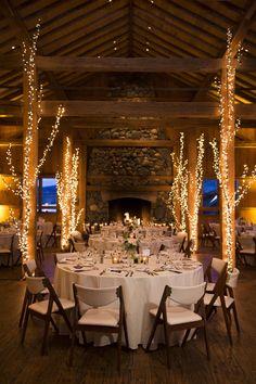 Lodge wedding, white lights, tree décor, rustic elegance, indoor reception // Brinton Studios