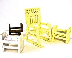 Vintage Lot x4 Clothespin Doll Furniture  by KatesAtticBargains