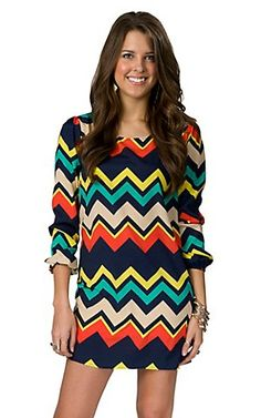 Karlie® Ladies Navy Zig-Zag Print 3/4 Sleeve Dress | Cavender's Boot City