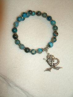 Mermaid Charm and blue Ocean Jasper by KrystalKlarityBeads on Etsy