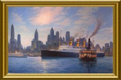s.s. Statendam (III) 1929-1940 on an evening arrival in New York in the summer of 1939