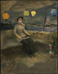 """Woman on a Yacht"", Jean Louis Forain, ca. 1881; CAI 1955.882"