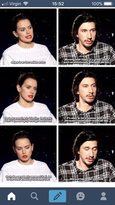 Don't you just love there relationship? I certainly do! They speak so highly of each other #reylo #DaisyAdam