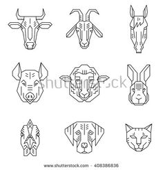 Home animal heads - line icons vector set. Simple geometric pictograms on white background, which can be used as logotypes. Animal Heads, Pictogram, Line Icon, Royalty Free Stock Photos, Illustration Styles, Branding, Icons, Wood Working, Simple