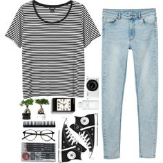 Black n White by briartate on Polyvore featuring Monki, Converse, Byredo, GHD, Newgate, Nikon, stripes, blackandwhite and hightops