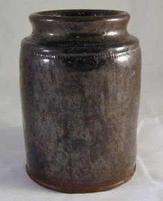 Antique Primitive Pennsylvania Manganese and Lead Glazed Redware Preserve Jar Southeastern Pennsylvanian Pennsylvania