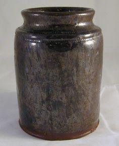 Antique Primitive Pennsylvania Manganese and Lead Glazed Redware Preserve Jar Southeastern Pennsylvanian Pennsylvania