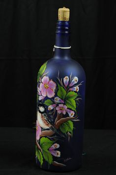 Hand Painted Lighted Wine Bottle / Chickadees in Apple Blossom Tree / Cobalt Blue Bottle Recycled Glass Bottles, Glass Bottle Crafts, Wine Bottle Art, Painted Wine Bottles, Lighted Wine Bottles, Painted Wine Glasses, Blue Bottle, Glass Painting Designs, Flower Pot Crafts