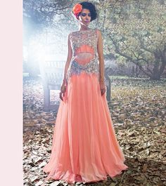 Fashion and pattern will be at the peak of your beauty after you attire  this semi-stitched peach net designer evening gown with floral embroidery  work 168b241be