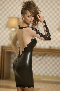 Nude Mesh Bodycon Black Faux Leather Club Dress