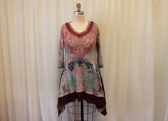 Hey, I found this really awesome Etsy listing at https://www.etsy.com/listing/217362424/bohemian-tunic-wearable-art-top-upcycled