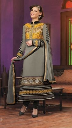 Heavy designer fancy Black coloured semi stitched salwar suit