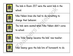 Miss Nelson Is Missing Story Sequencing Sentences from Tales of a Traveling Teacher on TeachersNotebook.com -  (3 pages)  - These ten sentences can be used to sequence and retell the story of Miss Nelson is missing. I print, laminate, and cut them apart. The students then arrange them in order and use the sentences to help them retell the story.