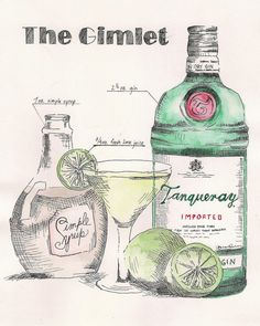 "Gimlet cocktail recipe illustration print 8.5 X 11"" Tanqueray gin home bar kitchen decor"