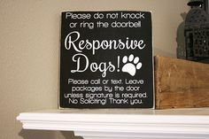 12x12 No Soliciting Responsive Dogs Wood Sign  Do Not