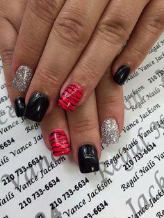 zebra print nail designs, red zebra print nails, black manicure, silver glitter nail polish, silver glitter nail art, silver nails, black nails, red and black nail designs, manicure,  black nail art