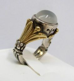 Gold, silver and moonstone ring.