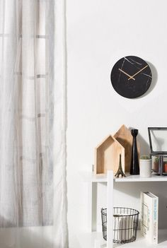 Marble and gold. wow, how beautifully do they combine - that's why we love the Marble Time Wall Clock, what we love even more is that this stylish clock is av Marble Interior, Interior Design, Minimalist Wall Clocks, Ethnic Decor, Marble Wall, George Nelson, Modern Kitchen Design, Interior Accessories, Floating Nightstand