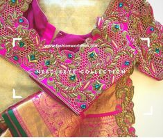 One of the must have combination Kanchipuram Saree! Needle eye clients don t go wrong in choosing the right designer. Beautiful pink color designer bridal blouse with thread work. Wedding Saree Blouse Designs, Pattu Saree Blouse Designs, Blouse Designs Silk, Blouse Patterns, Cut Work Blouse, Hand Work Blouse Design, Latest Maggam Work Blouses, Sumo, Kanchipuram Saree