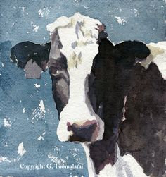 Items similar to Holstein cow upfront PRINT of original watercolor painting 13 x 19 paper size Cow print Cow art Cow painting Cow watercolor cow decor on Etsy Watercolor Landscape Paintings, Watercolor Animals, Watercolor Paintings, Watercolour, Cow Painting, Painting Prints, Art Prints, Matte Painting, Holstein Cows
