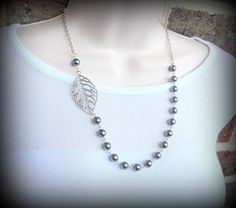 Necklace-Asymmetric Leaf and Pearls by byBrendaElaine on Etsy