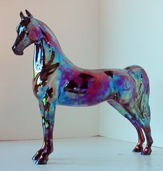 Last one!  No more of our spectacular one of a kind porcelain Raku horses will be made, this is the last one left on the mold at all!  See 'em all at http://www.lakeshorecollection.com/raku.html