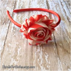 Red and White Striped Shabby Chic Satin Wrapped Headband, Headband, Toddler Headband, Girls Headband, Adult Headband, Hair Accessory by BandsForBabes, $5.00