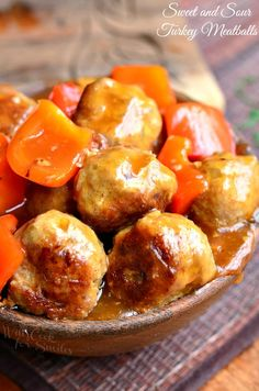 Amazing Sweet and Sour Turkey Meatballs dinner. Juicy and flavorful turkey meatballs cooked with red bell peppers and homemade zesty sweet and sour sauce. | from willcookforsmiles.com