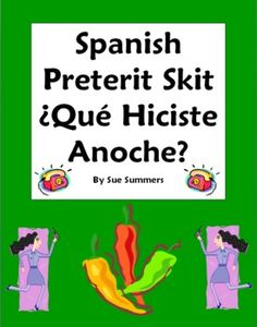 Spanish Preterit Skit / Role Play - Que hiciste anoche? by Sue Summers - Oral Practice. Spanish pair work, partner activity.