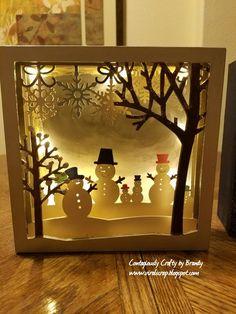 Christmas Shadow Boxes - All Lit Up Diy Christmas Shadow Box, Christmas Card Crafts, 3d Christmas, Christmas Lanterns, Christmas Themes, Holiday Crafts, Christmas Decorations, Shadow Light Box, Diy Shadow Box