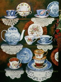 Love the doilies along the edge! // Teacups On Shelves Painting by Carol VonBurnum - Teacups On Shelves Fine Art Prints and Posters for Sale Tea Cup Saucer, Tea Cups, Tea Cup Display, Tee Kunst, Blue And White China, Teapots And Cups, My Tea, Vintage China, Tea Time