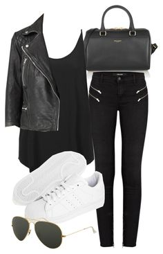 """Untitled #3230"" by ieleanorcalderstyle ❤ liked on Polyvore featuring Yves Saint Laurent, J Brand, Topshop, adidas Originals, AllSaints and Ray-Ban"