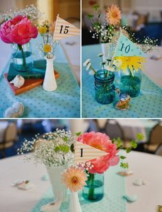 With the different jars and color flowers. :) This would be a whimsical and fun way to do your table numbers bringing in some great decor touches to the tent. :)