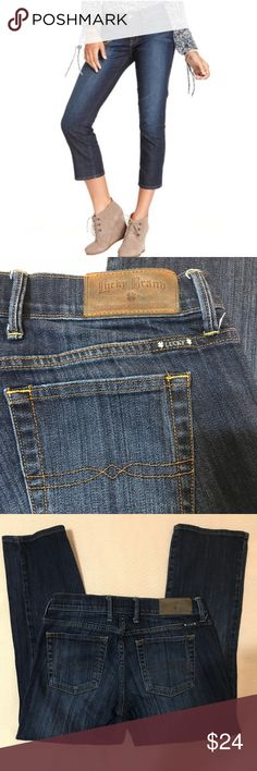 Lucky Brand Sweet 'N Crop Jeans - Size 4/27 These gently worn Lucky Sweet 'N Crop blue jeans are in great condition. They feature a slightly distressed look, 5 pockets and are 99% cotton, 1% spandex. Size 4/27. Lucky Brand Jeans Ankle & Cropped