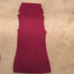 Wine color turtleneck knitted sweater vest Knitted super soft and warm turtleneck wine colored best. Used, but in great condition. Sweater vest Sweaters Cowl & Turtlenecks