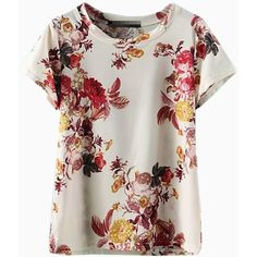Choies Floral Print T-shirt ($26) ❤ liked on Polyvore featuring tops, t-shirts, multi, floral print tee, flower print top, floral t shirt, floral tee and floral print top