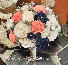 Weddings Coral Navy Bouquet Burlap Lace Sola by WeddingsByBillie                                                                                                                                                                                 More