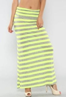 Neon stripe maxi knit jersey skirt with elastic skirt