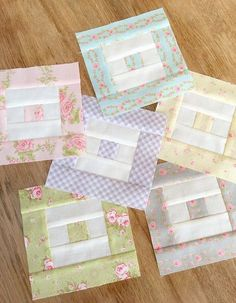 Carried Away Quilting sews the Box-in-a-Box blocks for the Patchwork Quilt Along with Fat Quarter Shop. (Fabric: Fleurs ~ Brenda Riddle for Moda)
